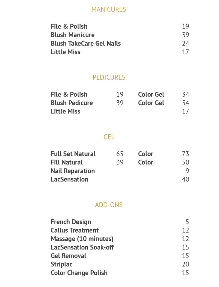 Prijslijst Behandeling Blush the nail bar 8/8/2016 kopie